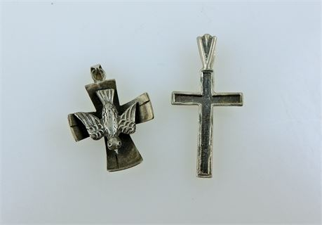 Two Vintage Sterling Silver Cross Religious Pendants Taxco & Other (112-J)