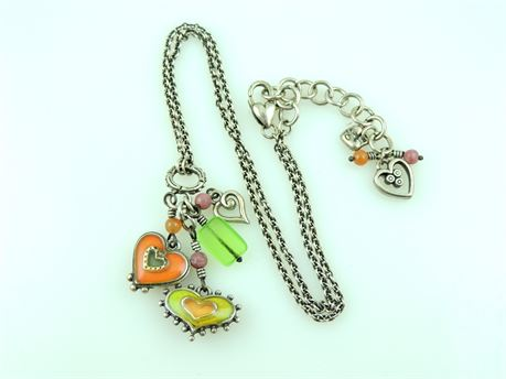 Brighton Retired Portabello Green & Orange Heart Pendant Necklace (440-J)