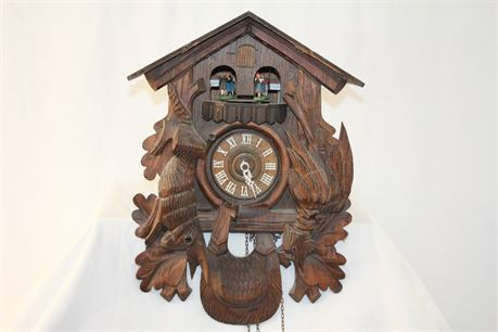Vintage Swiss Hand Carved Musical Cuckoo Clock