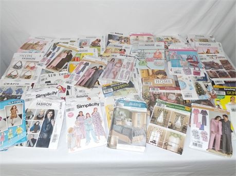 Lot of 66 Vintage Craft Sewing Patterns Clothing, Costumes, Home & more ETC
