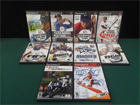 Lot Of 10 Assorted Sports PlayStation 2 Games.
