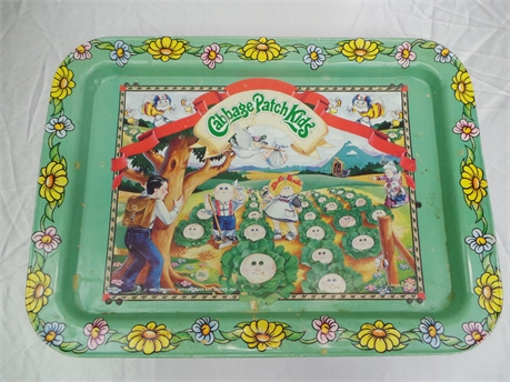 Vintage 1983 Cabbage Patch Kids Tv Tray Metal Green Flowers Garden Childrens