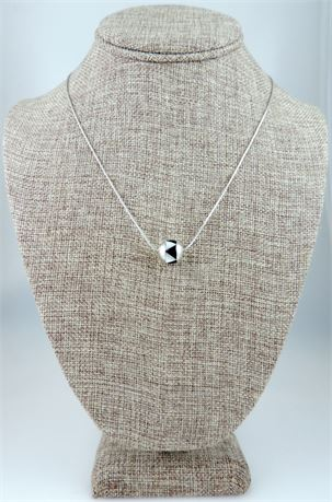 Sterling Silver Slide Pendant Mother of Pearl & Onyx Inlay Necklace (579-J)